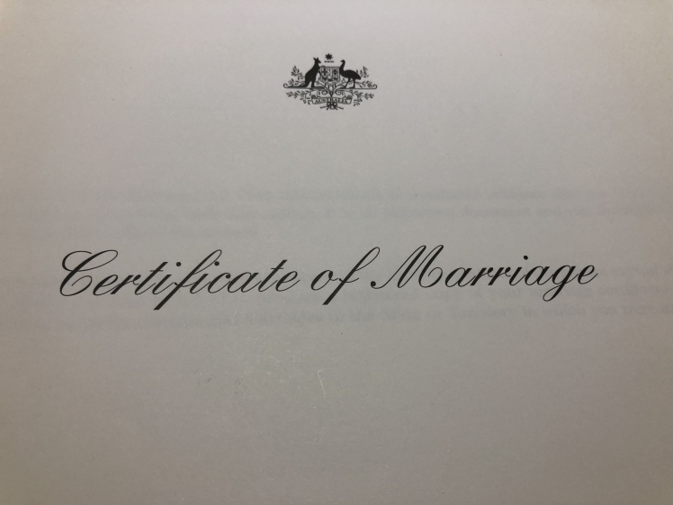 Michelle Redfern Certificate of Marriage